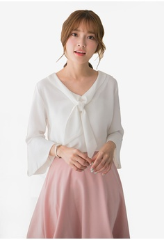 ba03e64aaea Tokichoi white Chiffon Blouse With Bell Sleeves 488E3AAE4AF180GS 1