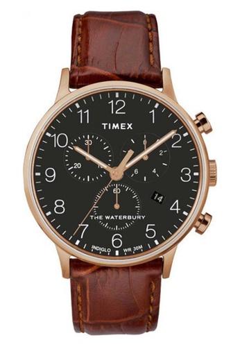 Timex brown Timex Waterbury Chronograph 40mm - Rose Gold-Tone Case, Brown Strap (TW2R71600) B918EAC06603D1GS_1