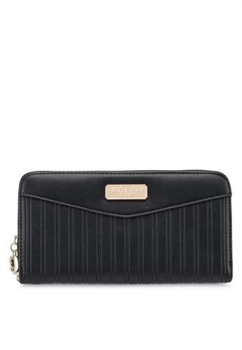 Unisa black Debossed Pattern Ladies Zip-Up Wallet 53CBCACBA0C923GS_1