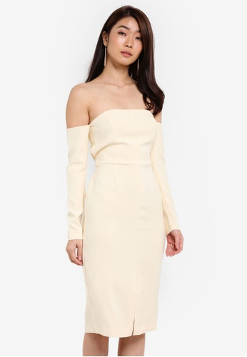 ZALORA beige Studio Strapless Midi Dress E6210ZZ80282F5GS_1