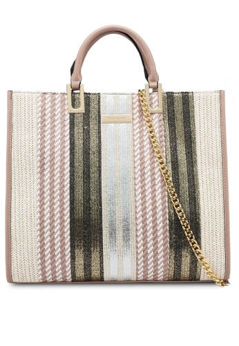 River Island beige Neutral Mixed Weave Chain Front Tote Bag 02995ACFD40C37GS_1