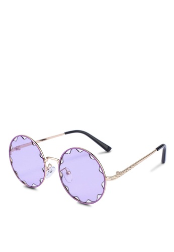 Milliot & Co. purple Yvonne Round Sunglasses 88C03GLD205A0FGS_1