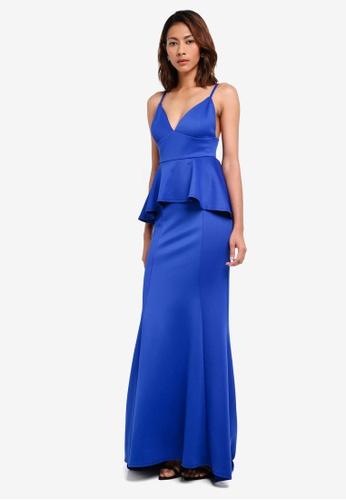 Goddiva blue V Neck Peplum Maxi Dress 8B05BAA81216A3GS_1