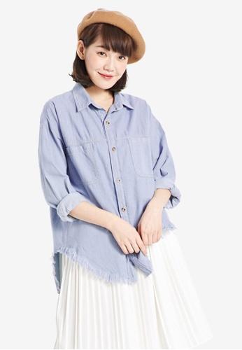 Tokichoi blue Denim Shirt with Raw Edge Detail 5935BAAAB6499DGS_1
