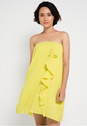 Mango yellow Pleated Ruffle Dress MA533AA61UEKID_1