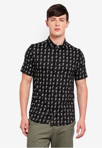 Burton Menswear London 黑色 短袖印花襯衫 DD979AAACC1E54GS_1