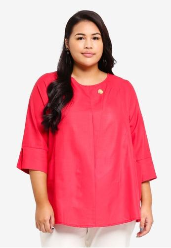 Ex'otico pink Plus Size 3/4 Sleeve Long Blouse 7F81FAA7EDCD36GS_1