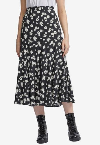 Dorothy Perkins black Mono Floral Print Midi Skirt D079BAAD47C9B2GS_1