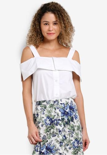 WAREHOUSE white Button Through Cotton Blouse WA653AA50YEZMY_1