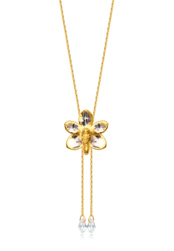 RISIS multi RISIS 24K Gold and Rhodium Plated Natural Ascocenda Sagarik Gold Orchid Slider /w Crystal Tailends FF0D5ACAA2EC11GS_1