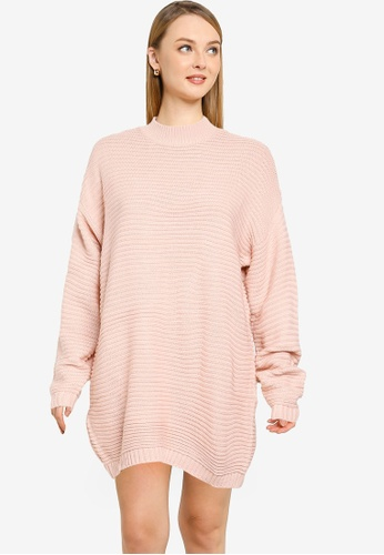 MISSGUIDED pink High Neck Ribbed Dress 5BC44AAB7A41B9GS_1