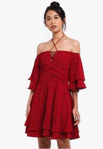 Something Borrowed red Lace Up Off Shoulder Tiered Dress 39E40AA0A05734GS_1