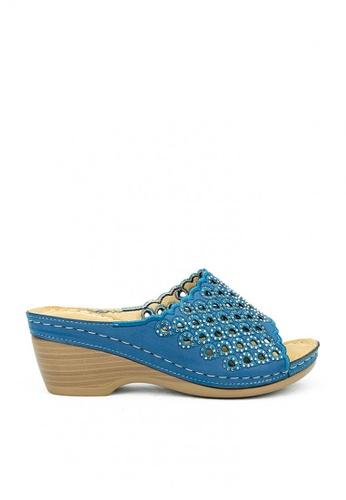 Cardam's Lifestyle blue CLS 95848 Navy Blue Wedge Sandals 92707SHF2C262DGS_1