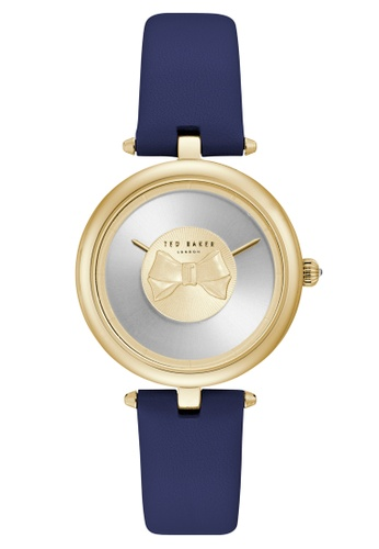 Ted Baker blue and gold Ted Baker Andrea 34mm - Gold-Tone Case, Blue Strap (TE15199003) TE856AC0FKIOSG_1