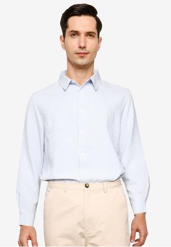 ZALORA BASICS blue and multi Seersucker Long Sleeve Collar Shirt 9D95DAA4CC226EGS_1