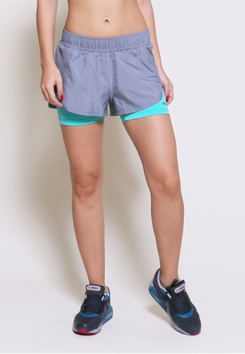 AMNIG grey and green Women Velocity Running Shorts With Inner(Grey/Mint) AM133SE69XJEMY_1
