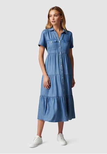 Forever New blue Donna Denim Shirt Dress 9A4E7AA116BE63GS_1