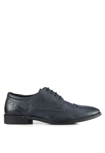 ZALORA navy Soft Cowhide Leather Wing Tip Brogue Shoes 0C6A3SH5A55431GS_1