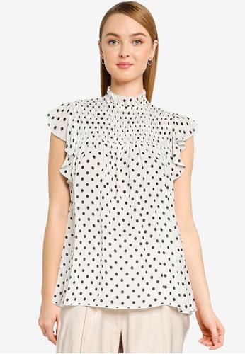 Dorothy Perkins white Petite Ivory Spot Print High Neck Top 00608AA8C5E90CGS_1