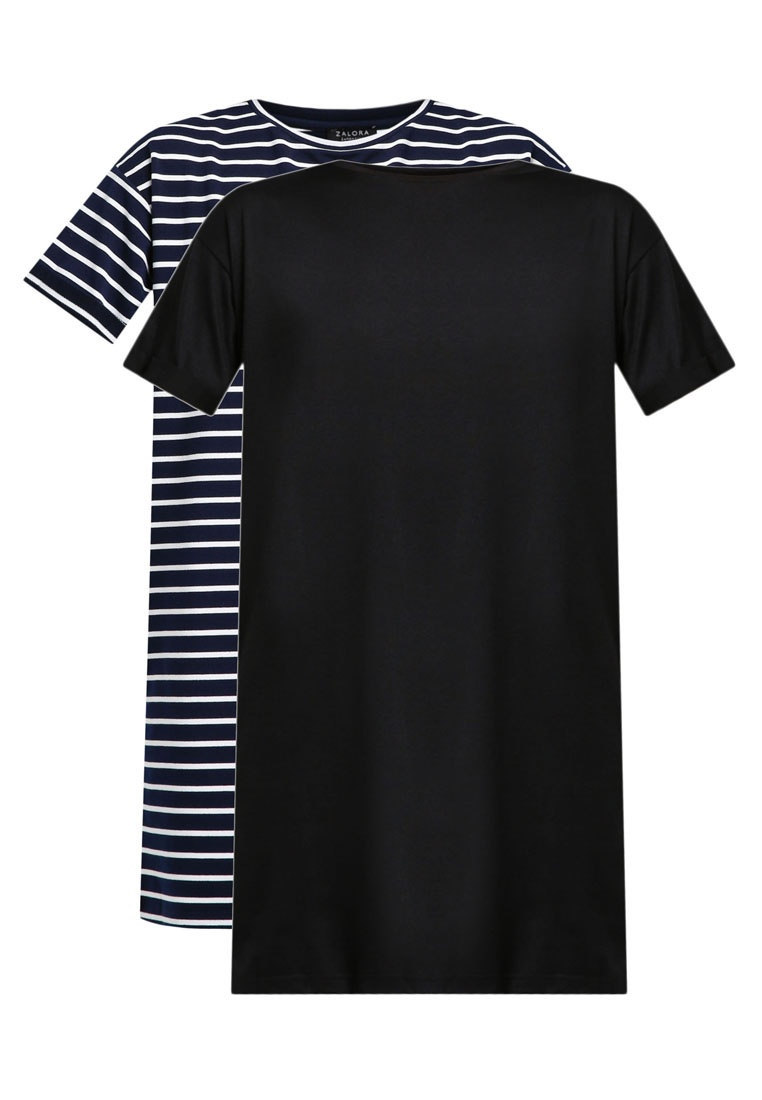 White Essential amp; Black Stripe T Shirt Dress BASICS 2 ZALORA Pack Navy 45qHwxvz