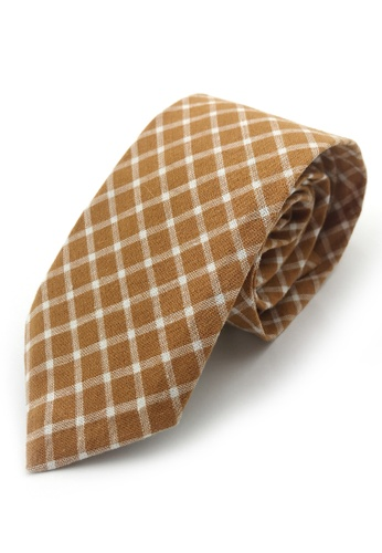 Caveman brown Brown Checks Necktie E893EAC0FC0F49GS_1
