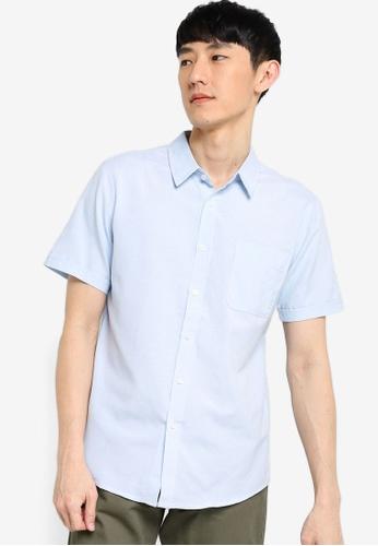ZALORA BASICS blue Short Sleeve Button Down Oxford Shirt 28CB2AAF6BA22DGS_1