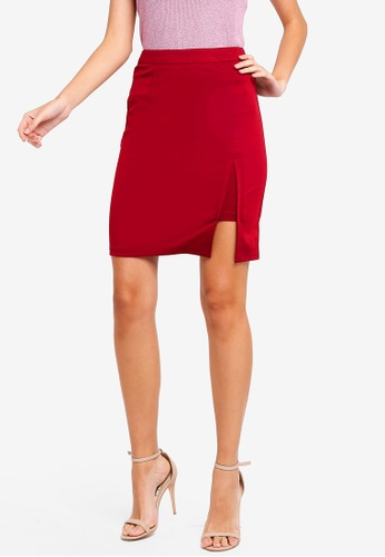 ZALORA red Knit Skirt with Slit DE05EAAA4E484AGS_1