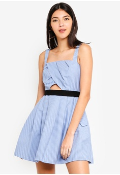 49a989b2383 Kitschen blue Cut Out Front Striped Pleated Dress AD96AAA9BC78A3GS 1
