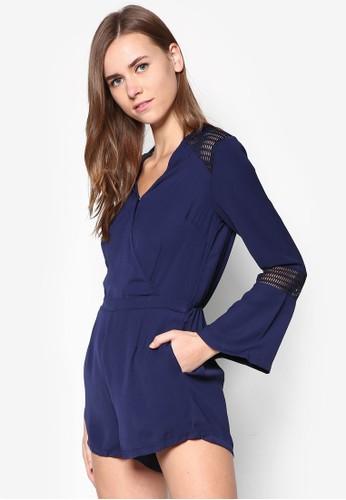 網眼zalora時尚購物網的koumi koumi拼接長袖連身褲, 服飾, 連身褲