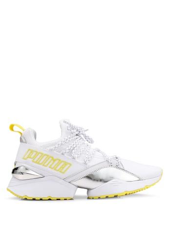 size 40 667c5 c2a8a PUMA white Muse Maia TZ Metallic Women s Sneakers 96D5ESHFB18FA3GS 1