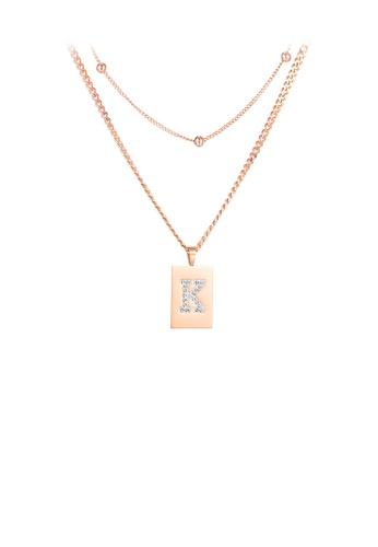 Glamorousky 白色 簡約個性鍍玫瑰金幾何矩形英文字母K鋯石316L鋼吊墜配項鏈 5F2F9ACE231C9EGS_1