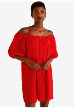 3da4f6756e MANGO red Gathered Details Dress E556AAA79C7804GS 1