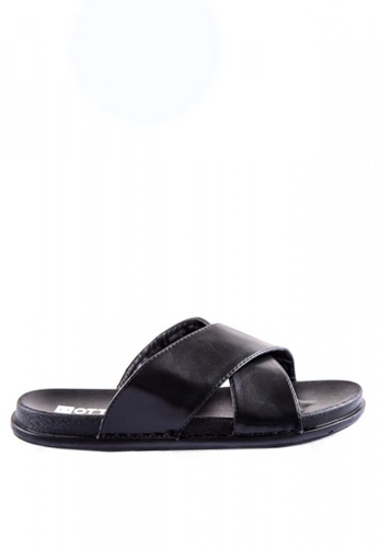 Otto black Criss Cross Slider Sandals 858AESH35ABED4GS_1