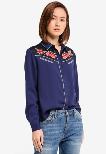 ZALORA navy Embroidered Western Blouse A7AD1AA1EBF30BGS_1