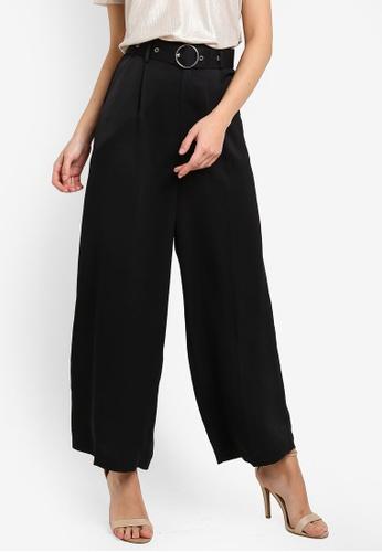 ZALORA 黑色 Wide Legged Pants With Metal Buckle E8E07AA5DCD767GS_1