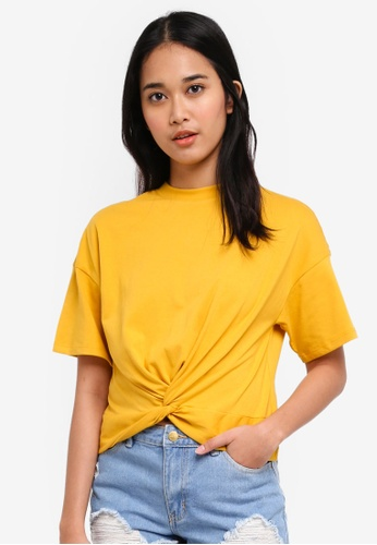 Penshoppe yellow Oversized Tee With Knot Detail FAF48AABEB561DGS_1
