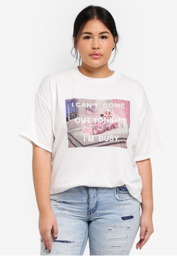 MISSGUIDED white Plus Size Printed Im Busy Tshirt 14274AA4C2A6B3GS_1