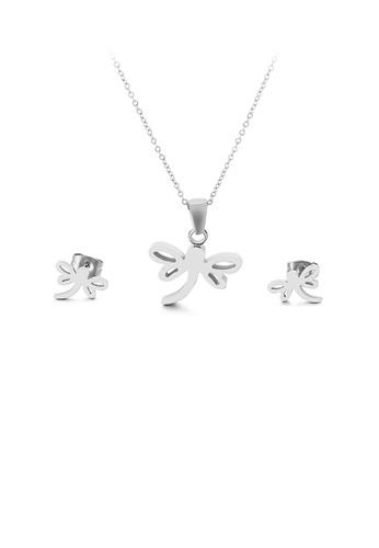 Glamorousky 銀色 時尚優雅蜻蜓316L鋼項鏈和耳釘套裝 81910AC0F2AAF0GS_1