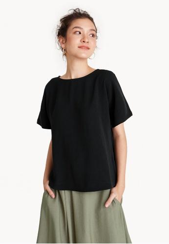 Pomelo black Oversized Side Slit Tee - Black B7740AAA9D1BB4GS_1
