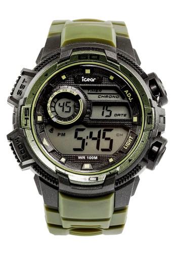 iGear I68 -1998 Jam Tangan Digital Pria Black Green Black