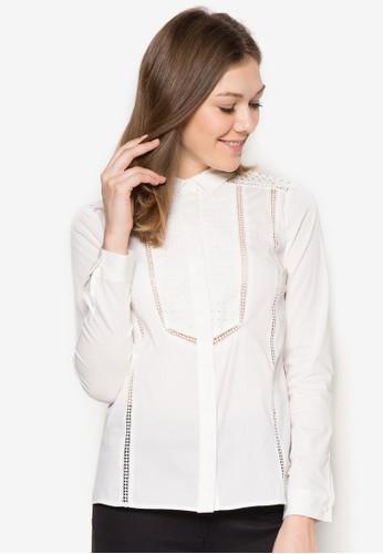 Broderie 鉤針長袖襯衫, 服飾, zalora 鞋評價襯衫