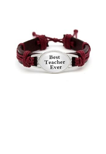 Glamorousky silver Fashion Teacher Red Handmade Cowhide Bracelet 01B52AC22DF76DGS_1