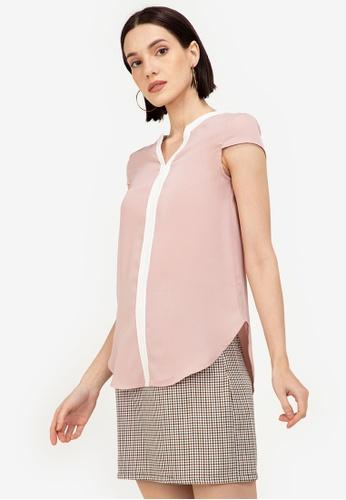 ZALORA WORK pink Notch Neck Cap Sleeve Blouse 581E9AAA826926GS_1
