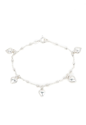 Silverworks silver Five Puff Heart with Beads Ball Bracelet SI696AC27HHKPH_1