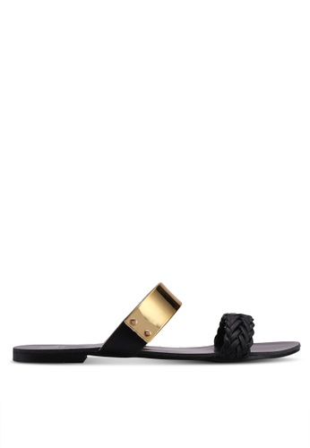 Carlton London black Double Strap Sandals 56415SH2FB7430GS_1