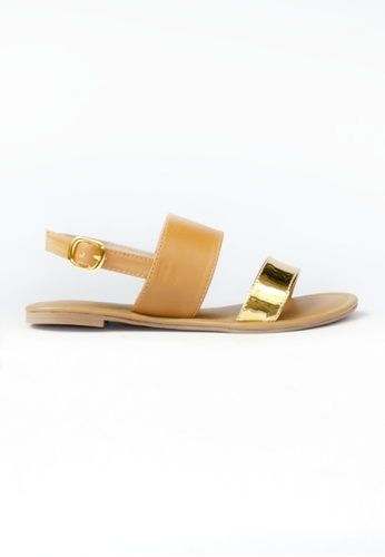 HDY brown and gold Trixie Flats Sandals HD484SH95RFCPH_1