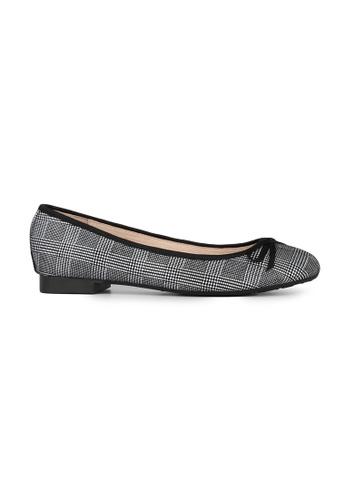 MAUD FRIZON black Checked Fabric Print With Bow Ballerina A58DBSH77B0716GS_1