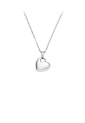 Glamorousky silver Simple and Fashion Heart-shaped 316L Stainless Steel Pendant with Necklace D4981ACB9C97A0GS_1