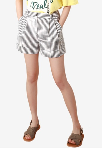 NAIN black Striped Shorts E671AAAEF83E8FGS_1
