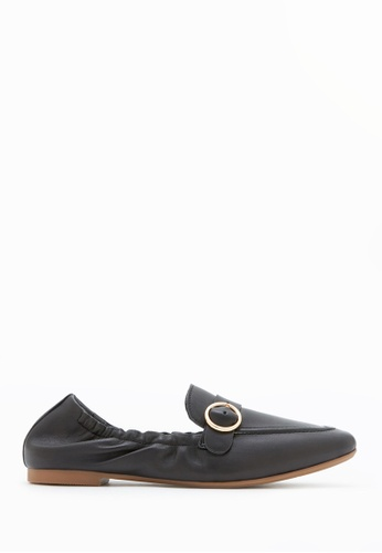 PAZZION black Buckle Front Loafers F6C17SH0604AE1GS_1